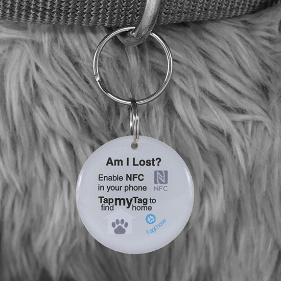"TagThose Paws 30mm Diameter NFC Pet Tag ""BLACK"""