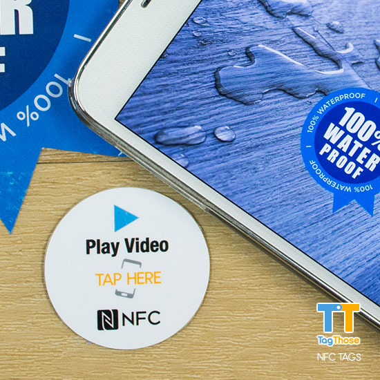 Play Video 40mm Diameter Business NFC Sticker
