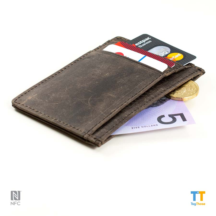 "RFID Blocking Leather Wallet ""Coffee"""